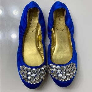 Royal Blue Satin Flats with Rhinestones